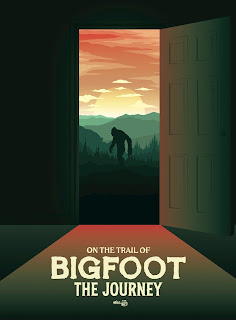 Painted poster of a bigfoot walking through mountains as viewed from an open doorway