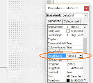 Untuk Denampilkan Data ADODC dari Database ke DataGrid1 Visual Basic VB 6.0