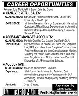 Leathertex Group Lahore Jobs 2021 in Pakistan