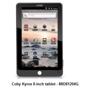 Coby Kyros 8-inch tablet