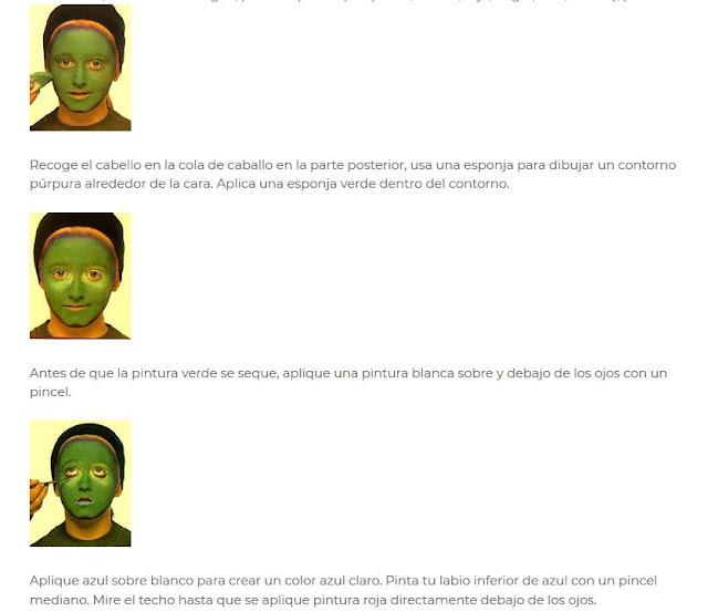 Maquillaje bruja verde Halloween