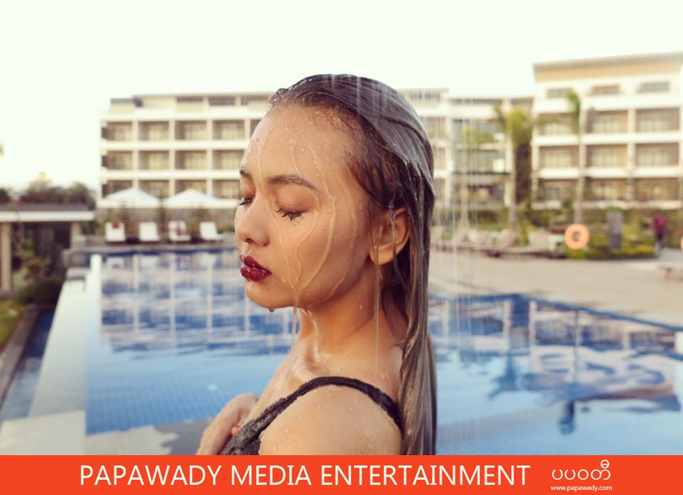 Shwe Mhone Yati Shows Off Her Beauty in Swim Suit Fashion While Swimming in Yangon