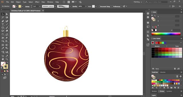 Decorative Christmas Balls in Adobe Illustrator