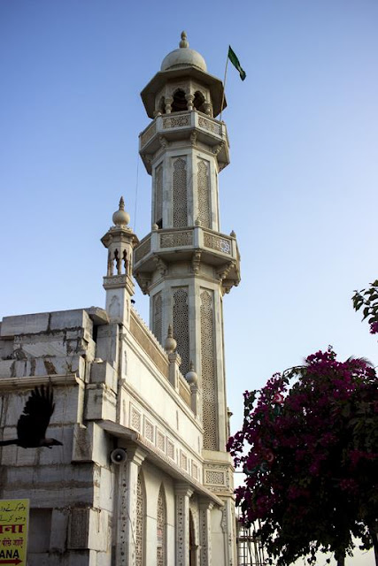 minaret, haji ali, dargah, tomb, mausoleum, worli, mumbai, incredible india, crow, bougainvillea, blue sky,