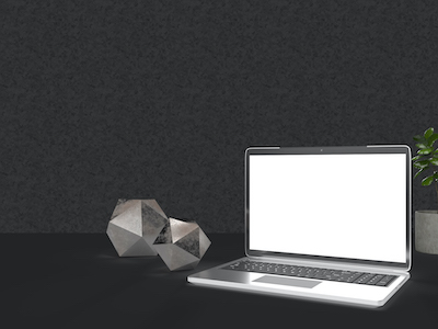 3D Laptop on grey background