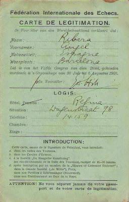 Autorización de la FIDE a Ángel Ribera para poder participar en la Olimpíada de La Haya 1928