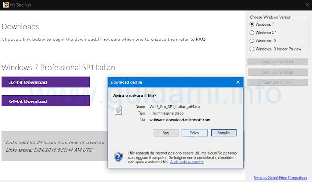 Windows ISO Downloader scaricare versione 32 o 64 bit