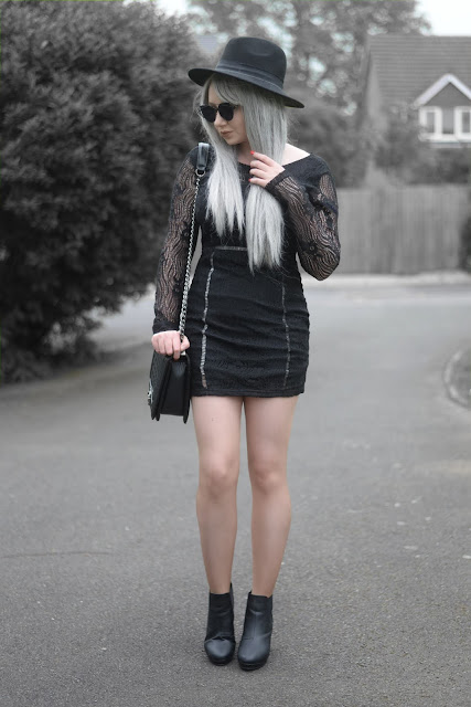 Sammi Jackson - Primark Black Fedora / Zaful Sunglasses / NaaNaa Mesh Cutout Dress / Oasap Quilted Flap Bag / Office Chunky Boots