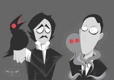 Meme de humor sobre Poe y Lovecraft
