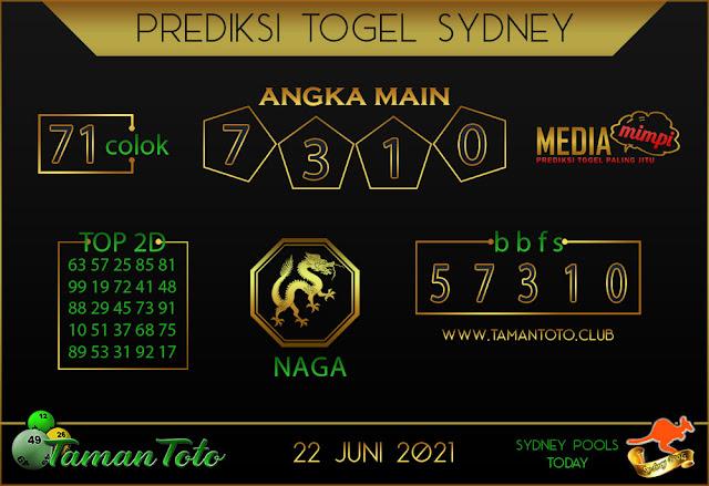 Prediksi Togel SYDNEY TAMAN TOTO 22 JUNI 2021