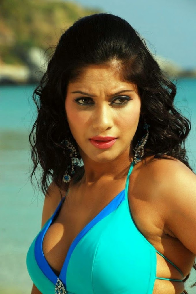 Telugu Actress Malishka Spicy Beach Bikini Stills and Photos