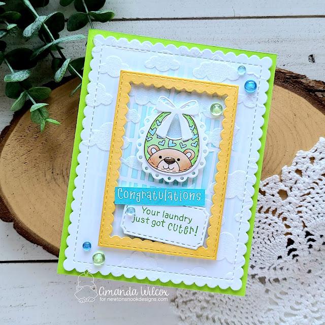 Baby Bib Card by Amanda Wilcox | Bitty Bibs Stamp Set, Baby Bibs Die Set, Serene Stripes Stencil, Cloudy Sky Stencil and Framework and Frames & Flags Die Sets by Newton's Nook Designs #newtonsnook #handmade