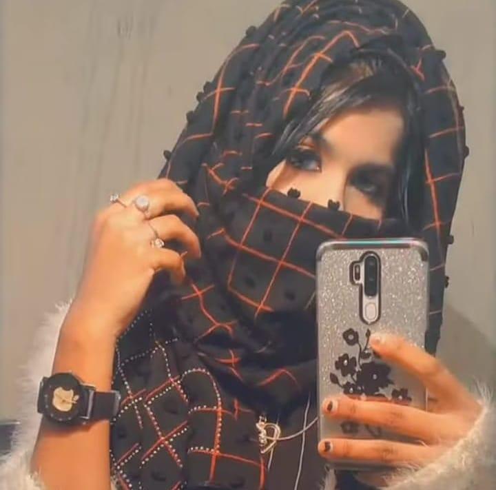 Girl Hidden Face DP with Mobile
