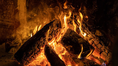 Camping, fire, logs, flame, fire