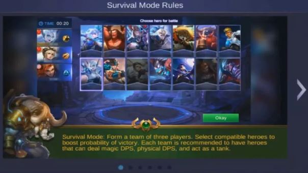 pick hero mode survival di Mobile Legends