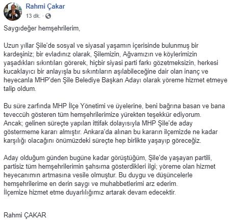 Şile'de MHP Seçmeni Bağımsız Aday Olarak Görmek İstedikleri Rahmi Çakar'dan Açıklama Geldi !