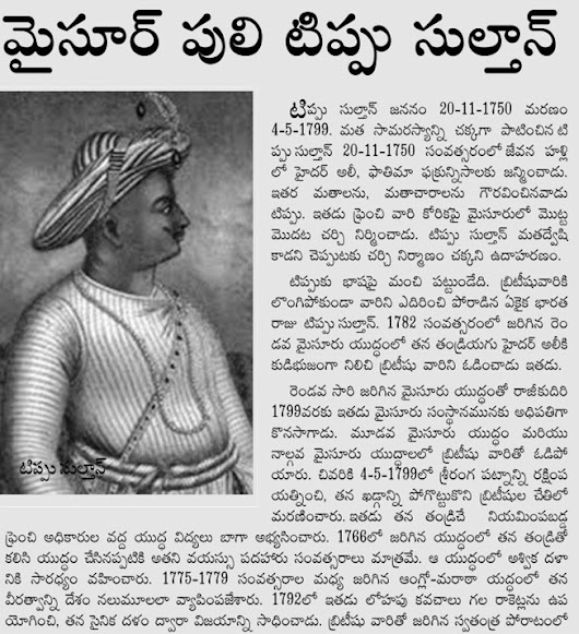 ARTICLE ABOUT MYSORE SHER TIPU SULTAN - THE ROYAL PRINCE