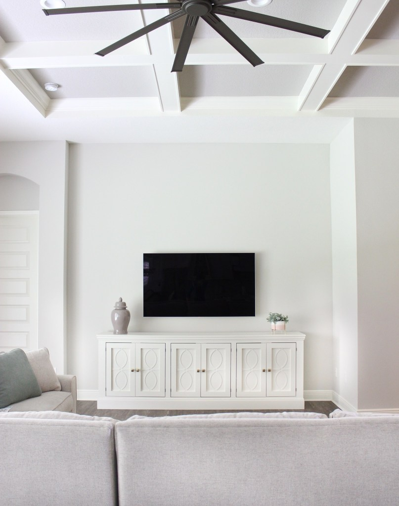 DIY white media unit with overlays