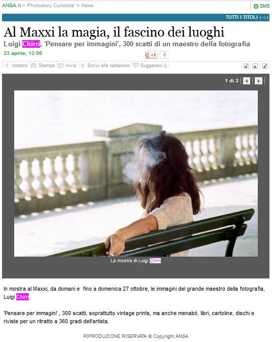 Screenshot dal sito dell'ANSA sulla mostra a Roma di Ghirri
