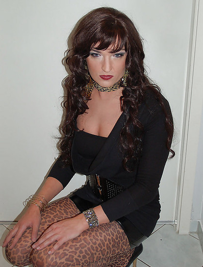 Crossdresser dressed in black