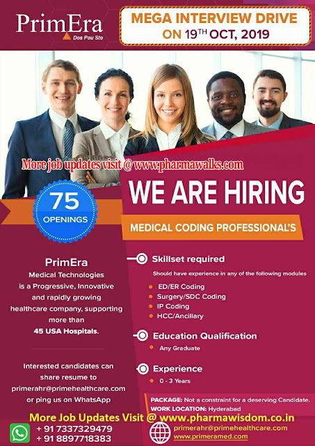 PrimEra - Mega Walk-in drive for Medical Coding on 19th October, 2019