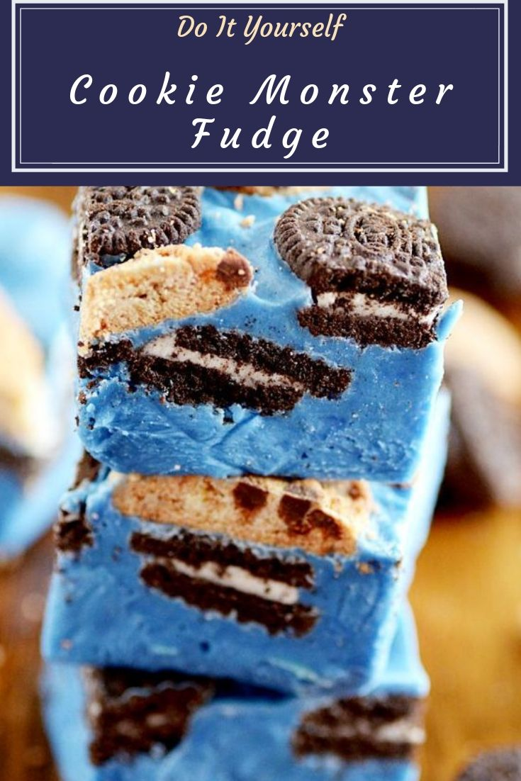 Cookie Monster Fudge - Smooth and creamy fudge packed with chocolate chip cookies and Oreo cookies.