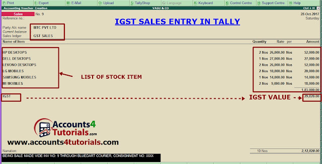 igst sales entry in tally