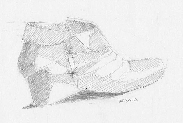 Daily Art 01-03-18 still life sketch in graphite number 92 - leather bootie shoe