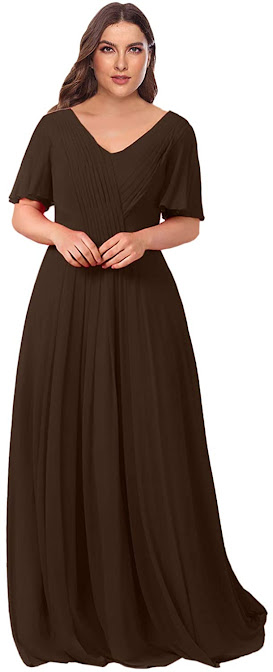 Plus Size Brown Chiffon Bridesmaid Dresses