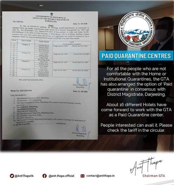 Paid quarantine at hotels in Darjeeling
