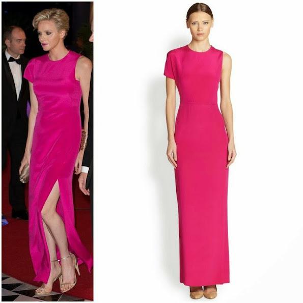 Princess Charlene of Monaco wore Swiss fashion house Akris Tulle Dress and Satin Dress