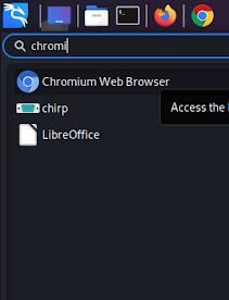 Chromium on our Application menu kali linux