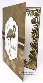 Linda Vich Creates: Fabulous Flamingo Thank You. Stylized Fabulous Flamingo card in rich browns with gold