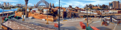 plein air oil painting of  the Hungry Mile wharf at East Darling Harbour, now Barangaroo and Millers Point & the Sydney Harbour Bridge from the bridge of the Wallenius Wilhelmsen cargo ship the 'Talabot' by artist Jane Bennett