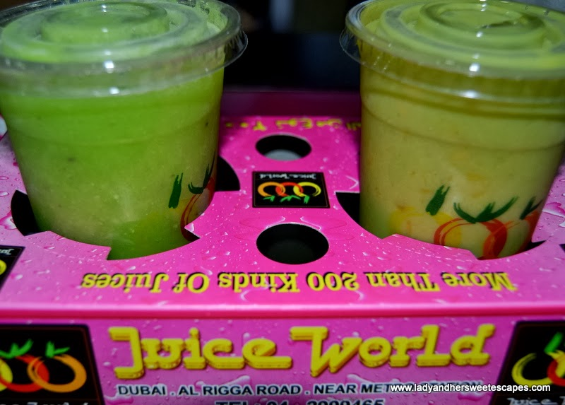 Juice World Dubai's avocado-kiwi and avocado-mango juices