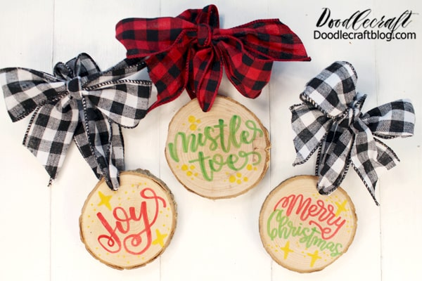 Make a wood slice ornament using Hands On Fun Markers from Oriental Trading. These markers are awesome for writing on wood, they don't bleed at all!