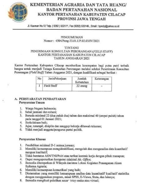 Lowongan Kerja Badan Pertanahan Nasional Tahun  2021