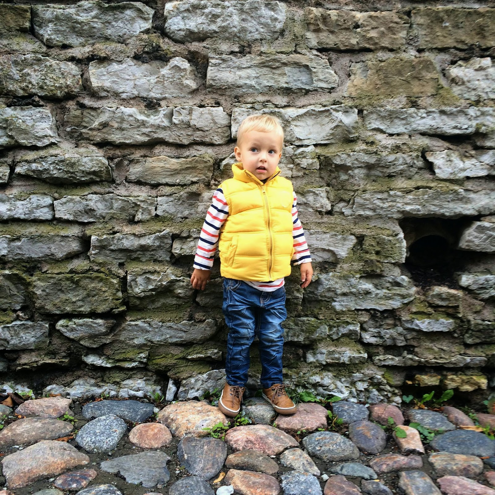 toddler style striped shirt yellow vest jeans