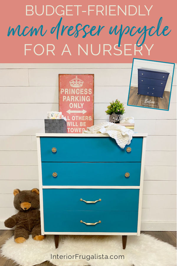 How to upcycle a second-hand dresser into a chic baby change table with mid-century modern style for a fraction of the cost of new nursery furniture. #nurserydresser #changingtable #babyroomfurniture #midcenturymodernfurniture