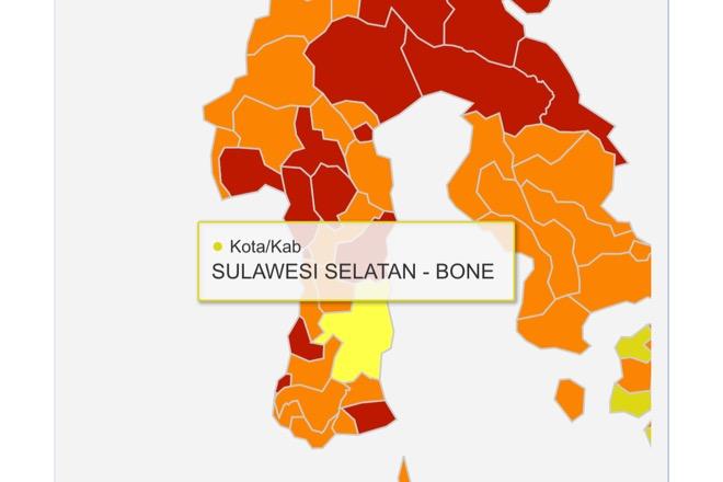 Hanya Bone Satu-satunya Zona Kuning di Sulsel, Sisanya Zona Orange dan Merah