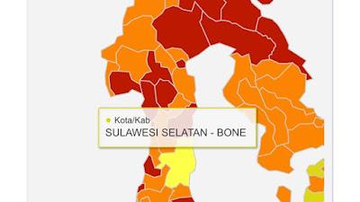 Bone Satu-satunya Zona Kuning di Sulsel, Sisanya Zona Orange dan Merah