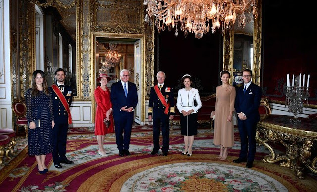 Elke Büdenbender, Queen Silvia, Prince Carl Philip, Princess Sofia. Crown Princess Victoria wore a blazer by Andiata