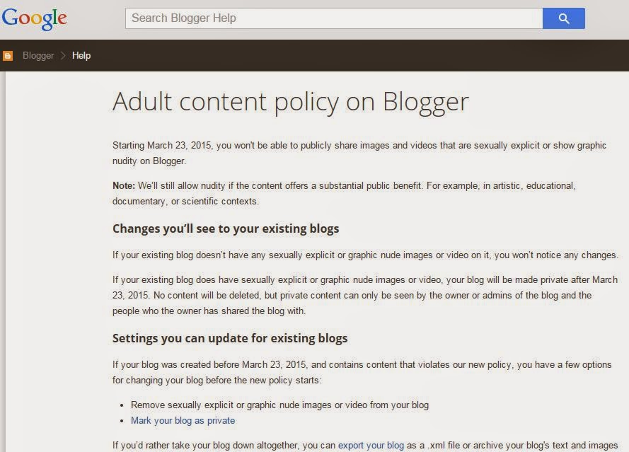 adult content policy on blogger