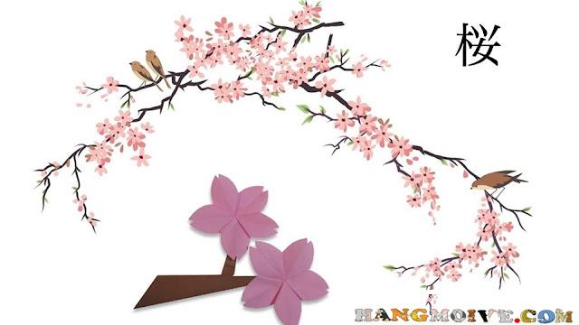Cách gấp, xếp cành, bông hoa anh đào bằng giấy origami - How to make a paper Cherry Tree