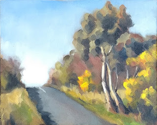 Landscape oil painting of a road disappearing over a small hill with eucalypts beside.