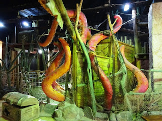 A destructive octopus at the indoor Pirate Adventure Mini Golf course in Blackpool