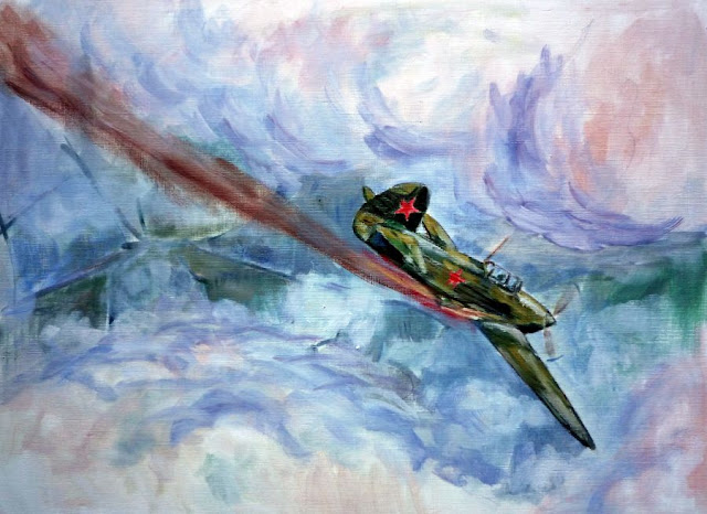 Pintura al oleo de la Rosa de Stalingrado