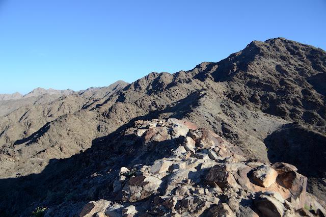 looking ahead along the ridge