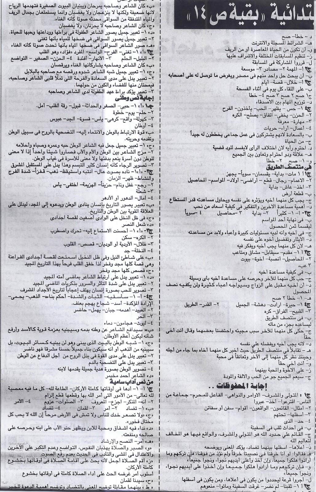 بنك سؤال وجواب لغة عربية الشهادة الابتدائية لن يخرج عنة امتحان اخر العام - ملحق الجمهورية 7/5/2016 7