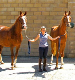 Lucy Cartwright with horses Della Casa and her son Felix